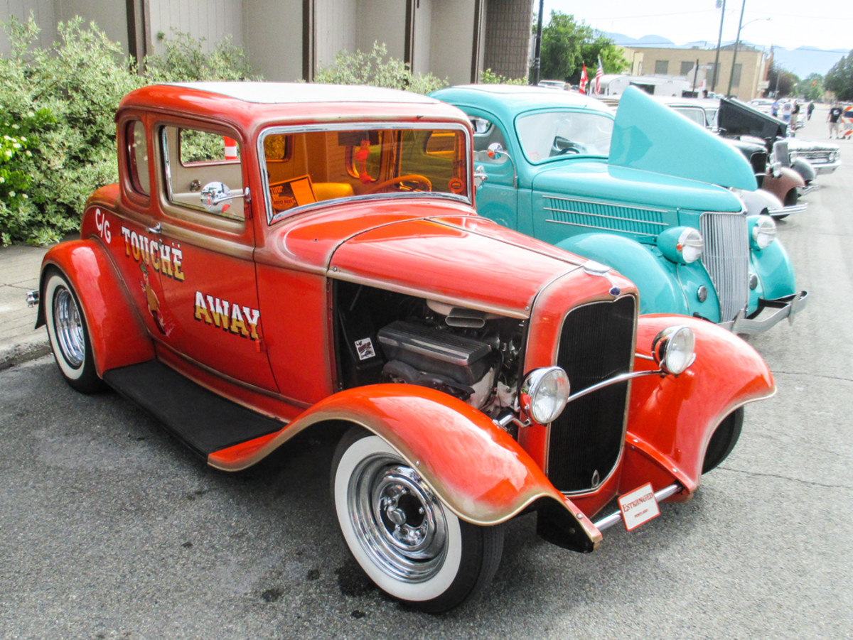 Kim Meeks of Damascus, Ore., brought her hopped-up Deuce five-window. Here's a good example of lookin' fast while sittin' still.