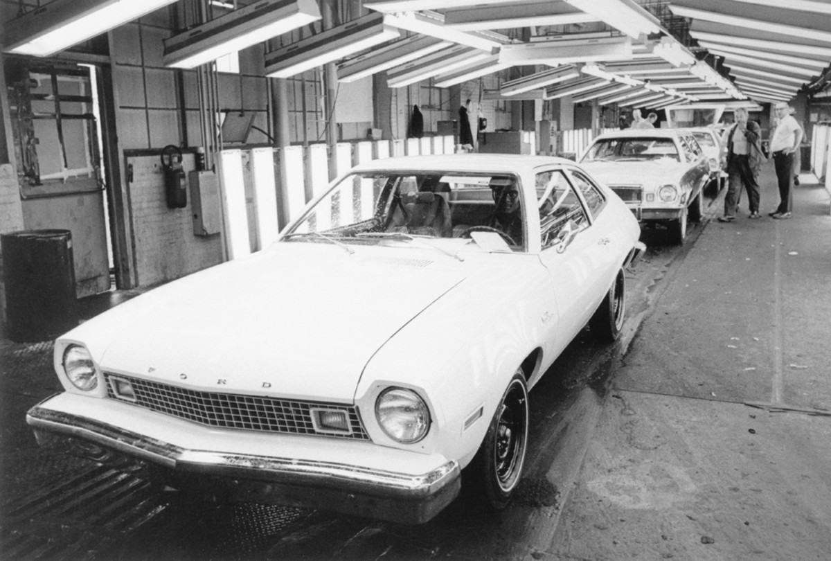 A 1976 Pinto MGP is birthed off Ford Motor Co.'s Metuchen, N.J., assembly line. The Pinto Pony MPG had an EPA mileage rating of 38 mpg on the highway and 25 mpg in the city. A Mercury Bobcat follows the Pony MPG on the assembly line.