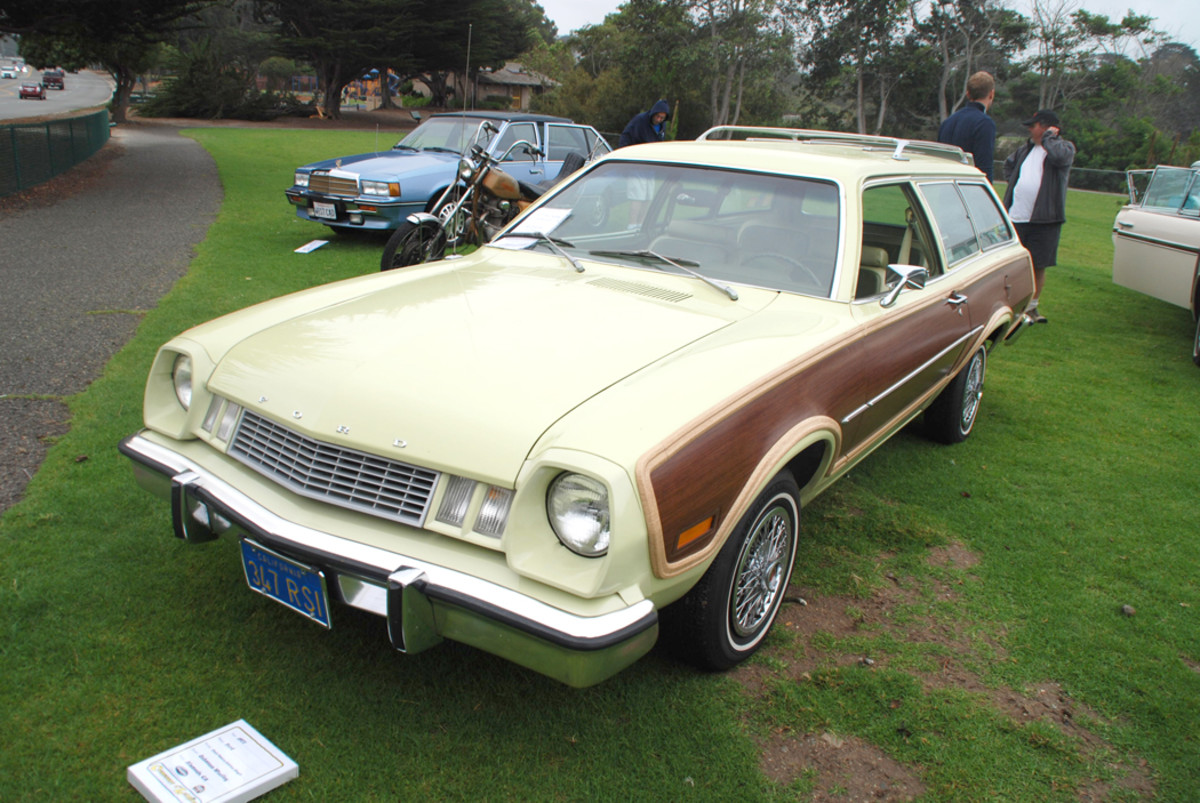 1977 saw new Pinto front-end styling. By this time, Pinto wagons, such as this Squire edition, were America's best-selling station wagons.