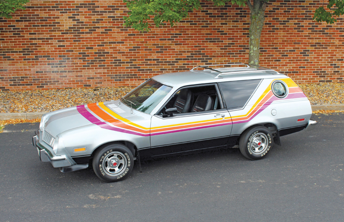 Aimed at younger buyers, the Pinto Cruising Wagon featured attractive graphics and the first factory porthole window on a Ford since the 1957 Thunderbird. Pictured is a 1977 Cruising Wagon.