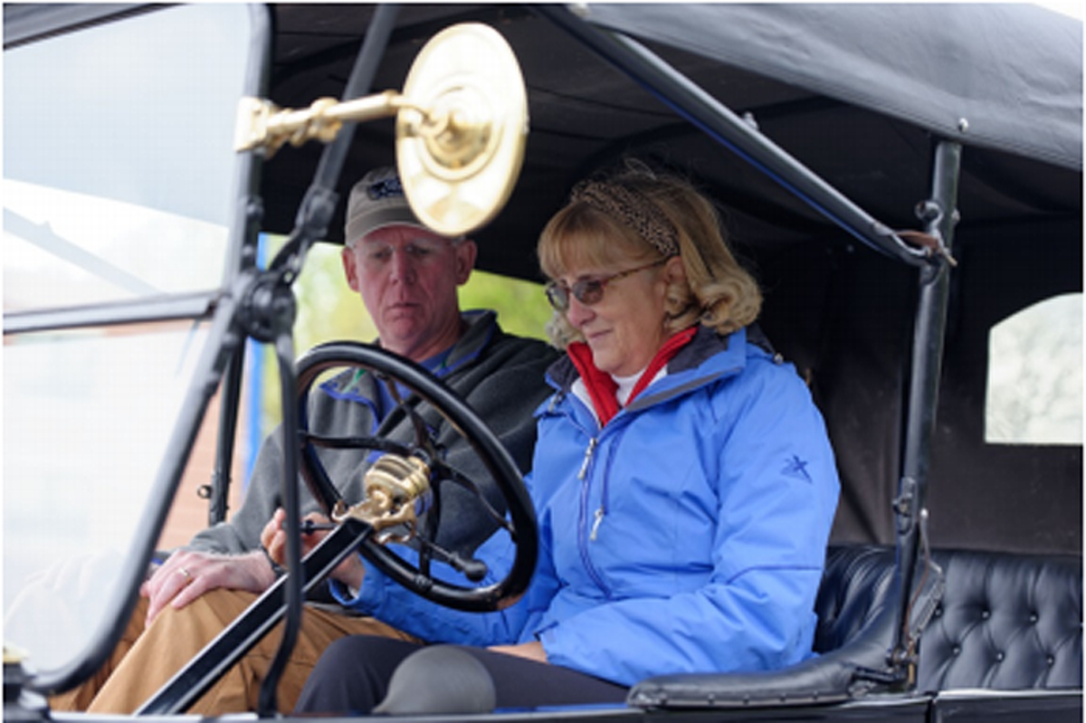 Marshall Steam Museum instructor John Trout with student Sharon Schell.