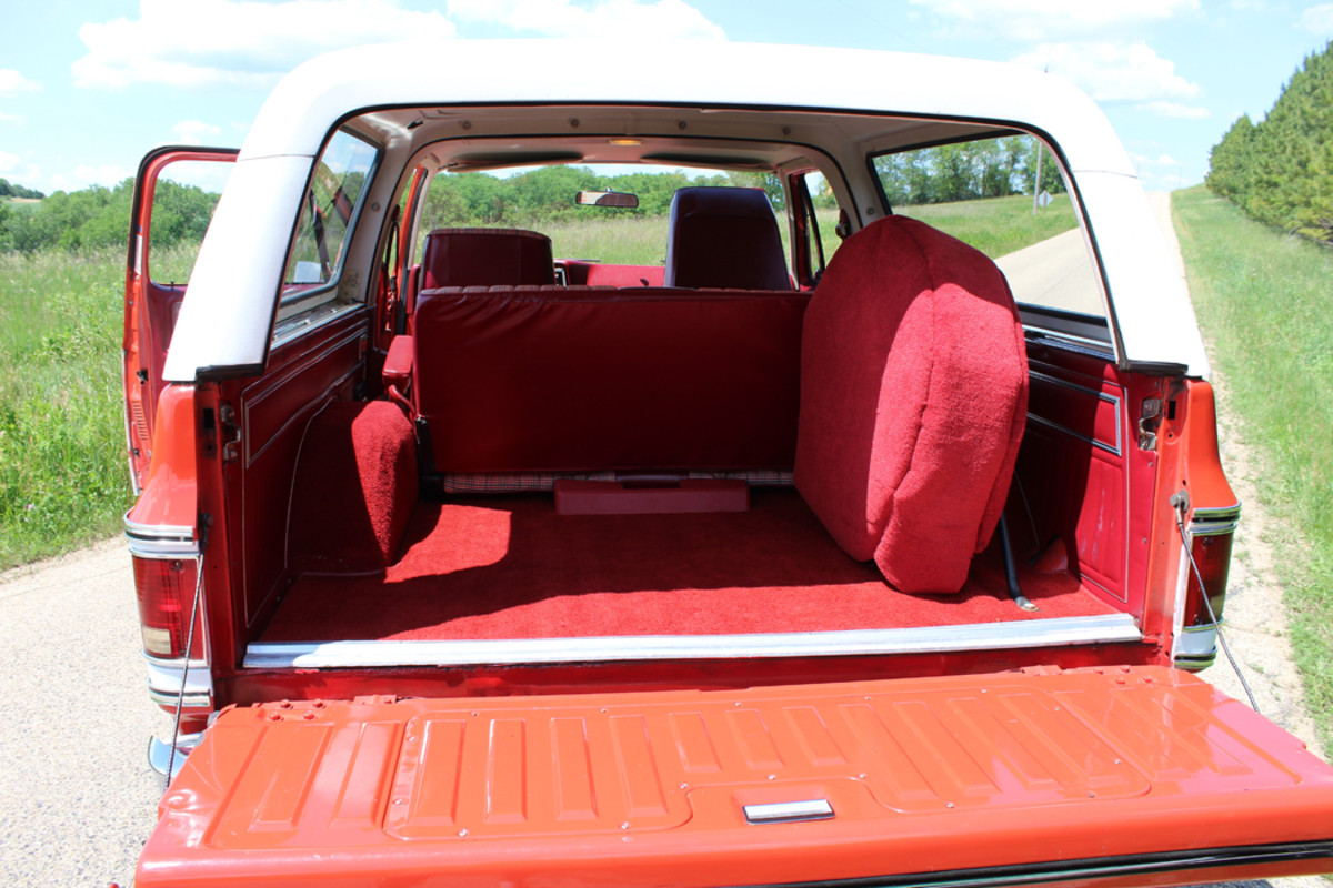 The Cheyenne package was the fanciest version of the Blazer, and this one came with flashy red vinyl  upholstery, bucket seats with a console, folding rear seat and plenty of other accessories. Of course, the hardtop is removable, although it's unlikely the Blazer has ever been topless.