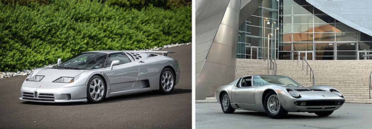 LEFT: 1994 Bugatti EB110 Super Sport, RIGHT: 1971 Lamborghini Miura P400 S