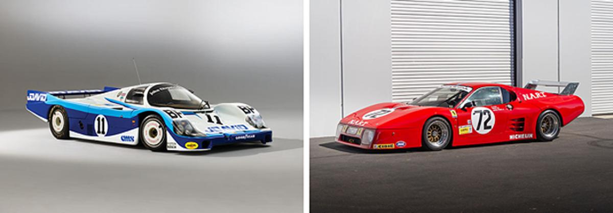 LEFT: 1983 Porsche 956 Group C, RIGHT: 1981 Ferrari 512 BB/LM