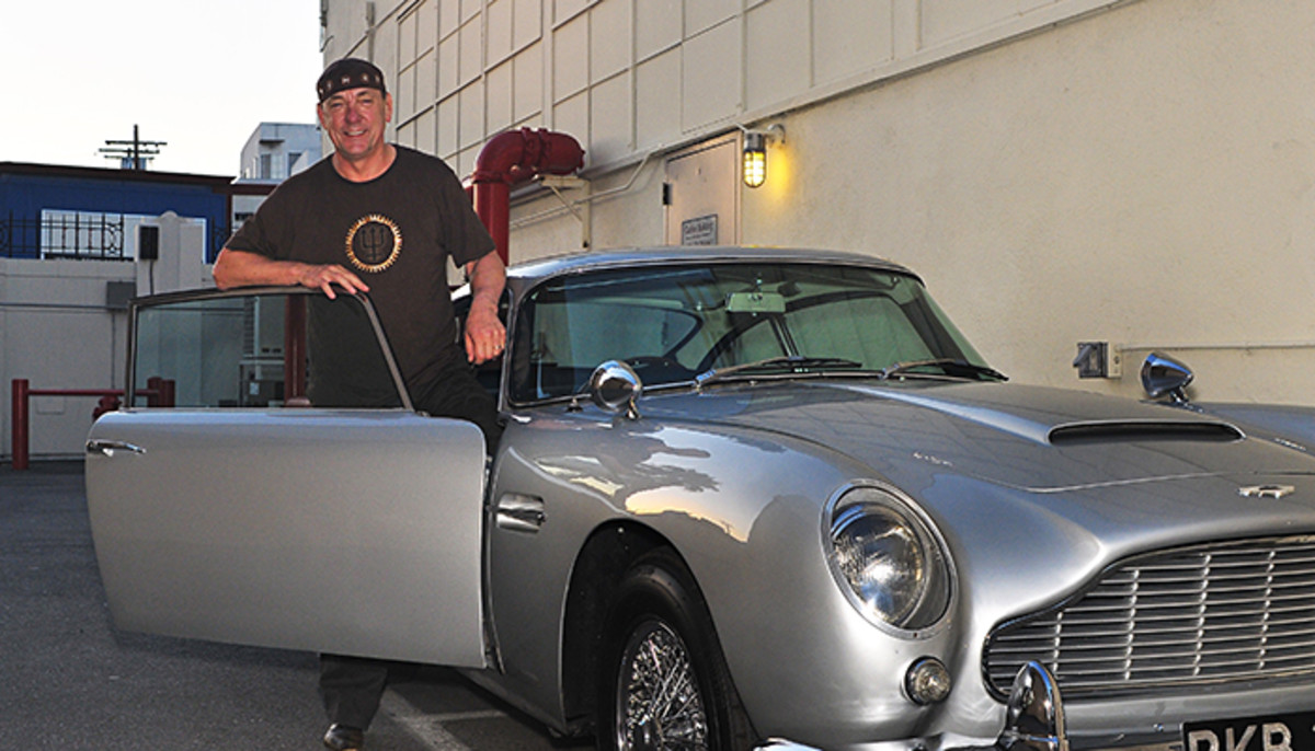 Neil Peart with his 1964 Aston Martin DB5.