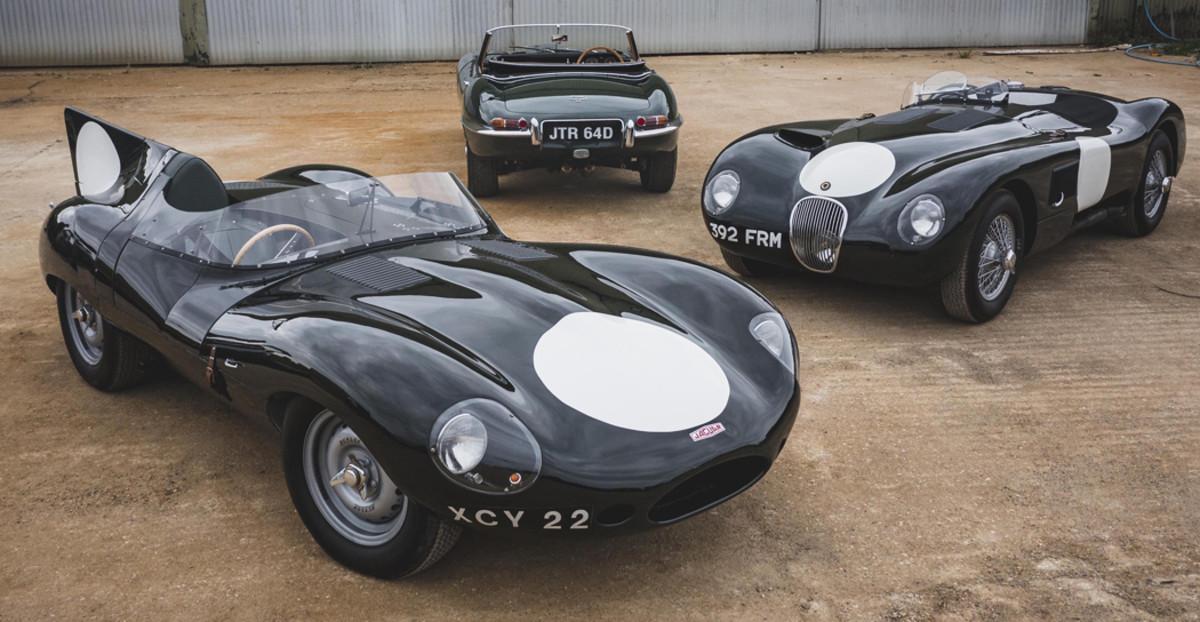 The Swann Collection L-R, 1960 Jaguar Lynx D-Type, 1966 E-Type Series 1 4.2, 1991 Works Lightweight C-Type Replica