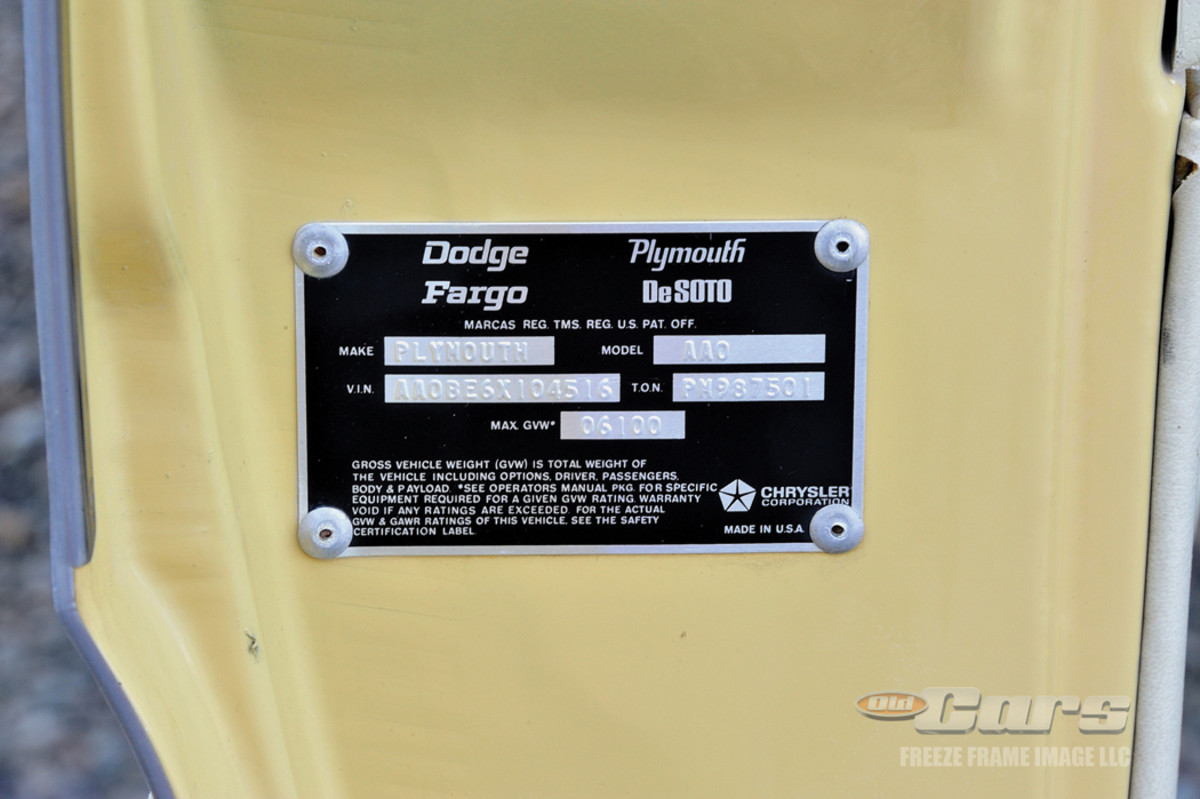 """Chrysler Corp.'s full truck line is mentioned on the factory certification label inside the door jamb. The tag identifies the Plymouth Trail Duster model as """"AAO."""""""