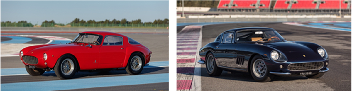 LEFT: 1955 Ferrari 250 GT Berlinetta Competizione; RIGHT: 1965 Ferrari 275 GTB