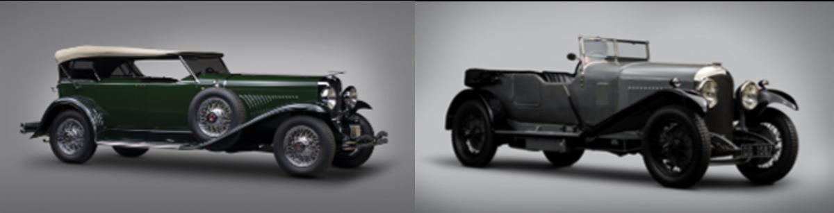 LEFT: 1929 Duesenberg Model J Dual-Cowl Phaeton, RIGHT: 1929 Bentley 4 ½ -Litre Tourer