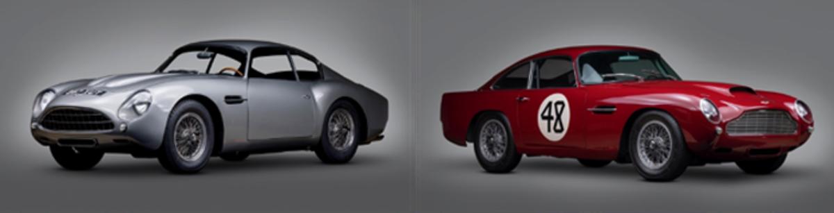 LEFT:1961 Aston Martin DB4GT, RIGHT: 1959 Aston Martin DB4GT Lightweight