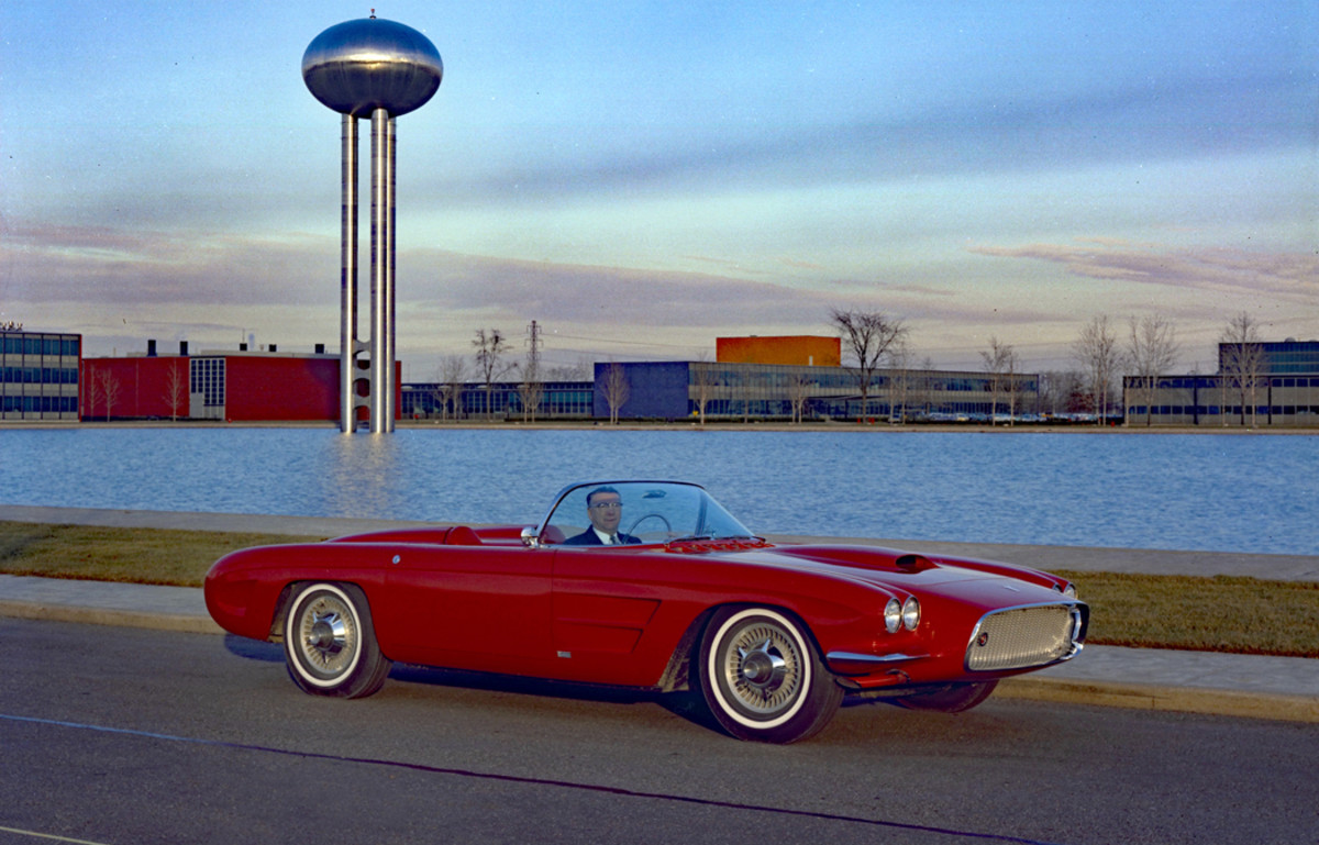 Harley Earl, GM VP of Design, received this vermilion 1959 Oldsmobile F-88 Mk. III reportedly as a retirement gift. Its many interesting features included a retractable stainless steel top, cast aluminum wheels, exhaust exiting ahead of the front wheels (note the exhaust pipes were painted to match the car), a 394 V-8, etc.