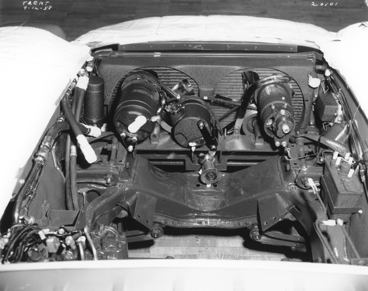 An Oldsmobile 394 V-8 (from the 1958 model year) powered the F-88 Mk. III. It was topped with an experimental fuel-injection system designed by GM's Rochester Division, but it was unreliable. The low hood-line meant typical carburetion could not be used. A pair of Solex two-barrel side-draft carbs replaced the FI setup. Later a Latham supercharger was installed.