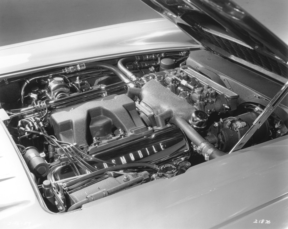 An aluminum cross-flow radiator with twin fans kept the 394 V-8 cooled.