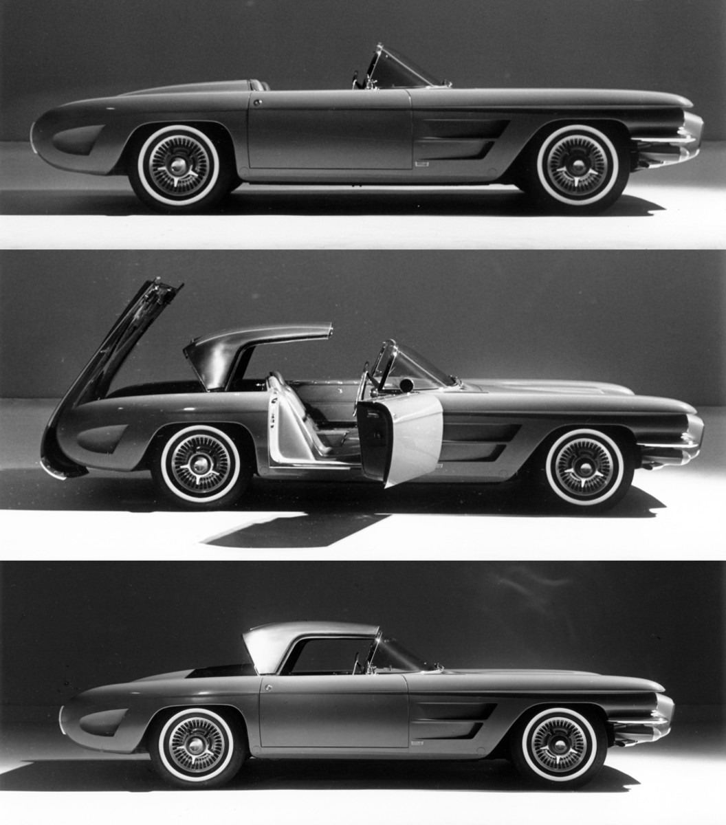 A convertible top fully hidden under a pivoting panel was a hallmark of the concept cars designed under Harley Earl. The top for the F-88-III was of stainless steel. Note the headrest fairings on the deck of the car.