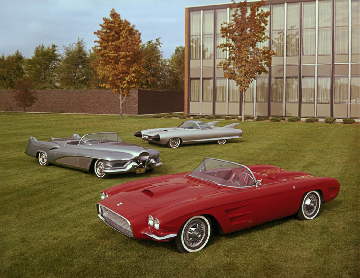 Harley Earl's bright red 1959 Oldsmobile F-88 Mk. III was posed with the 1951 GM Le Sabre, which served as both a show car and Earl's personal transportation, and the 1959 Cadillac Cyclone.