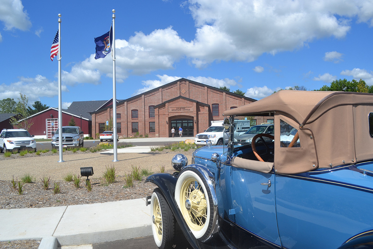 2020 Gilmore Car Museum Main Entrance with car