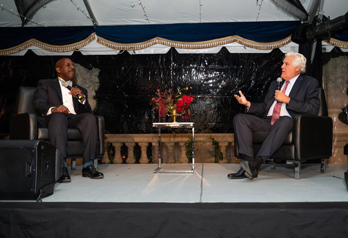 Donald Osborne chatting with Jay Leno