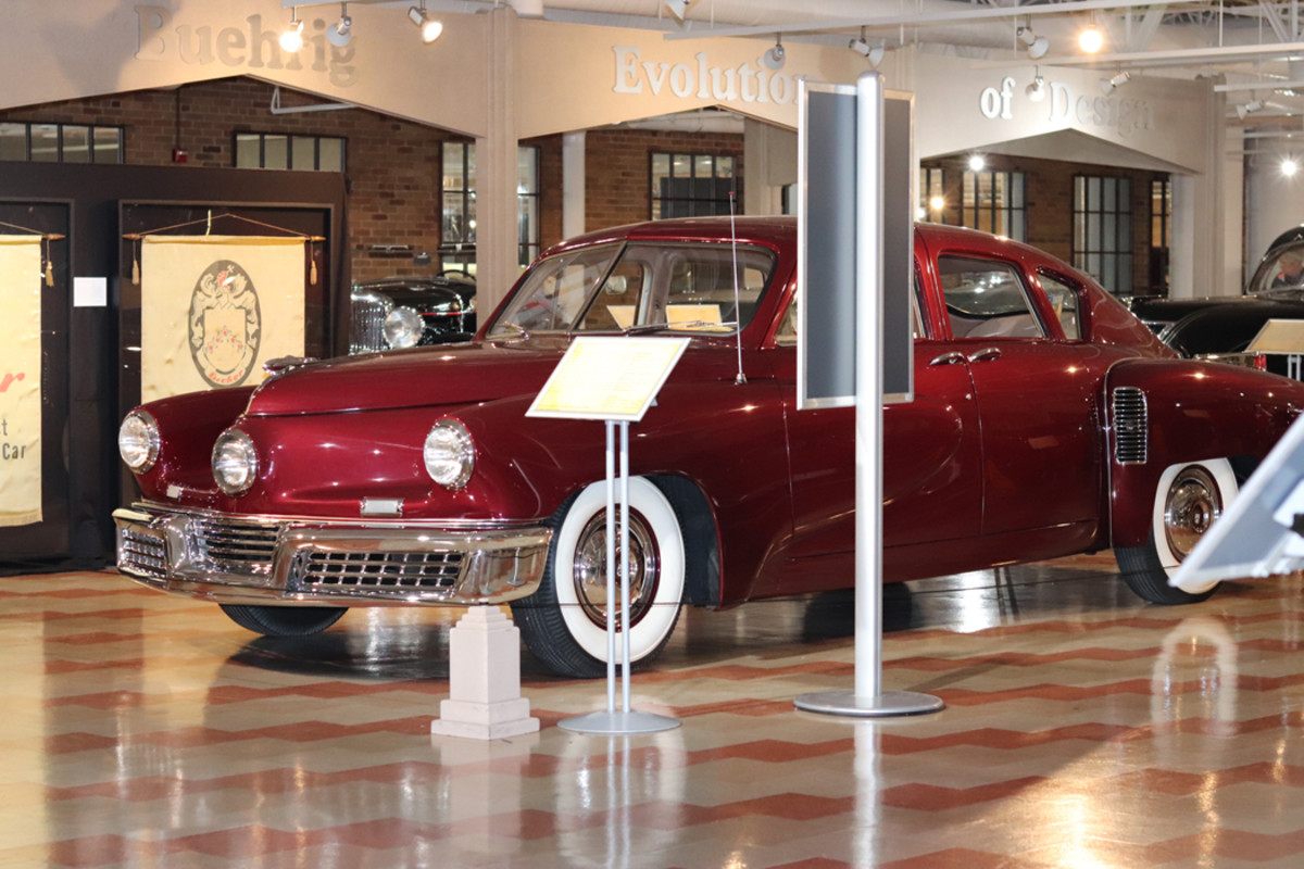 The 1948 Tucker displayed at the Auburn Cord Duesenberg Automobile Museum